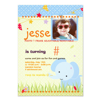 """Blue Baby Elephant Personalized Party 5"""" X 7"""" Invitation Card"""