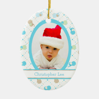 Blue Baby Elephants First Christmas Photo Template Christmas Ornament