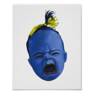 Blue Baby Face Poster Print by Lenn Redman