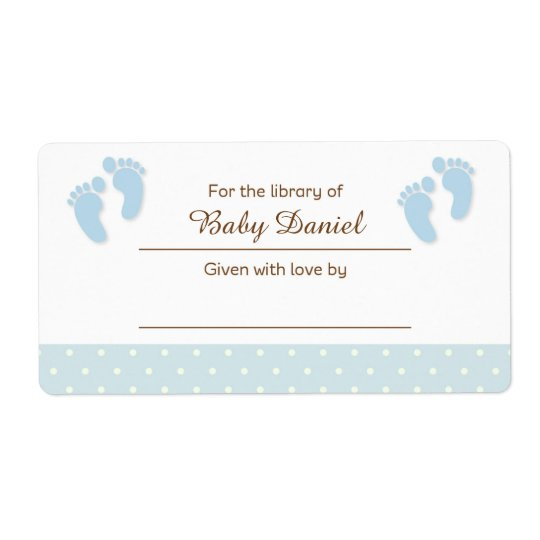 Blue Baby Feet Bookplate Label Sticker