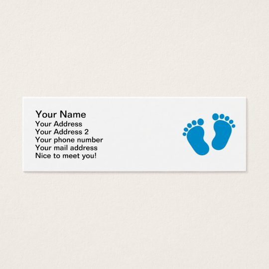 Blue baby feet mini business card