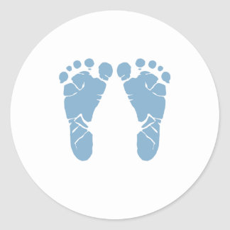 Blue baby footprints round sticker