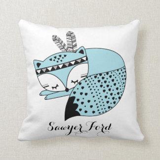 Blue Baby Fox Tribal Woodland Forest Nursery Gift Cushion