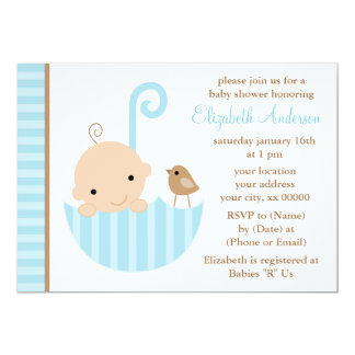 Blue Baby in Umbrella Baby Shower Card