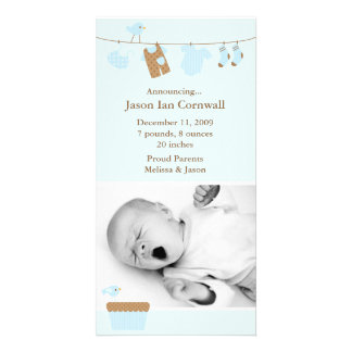 Blue Baby Laundry Birth Announcement Photo Card Template