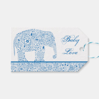 Blue Baby Love Elephant Gift Tag