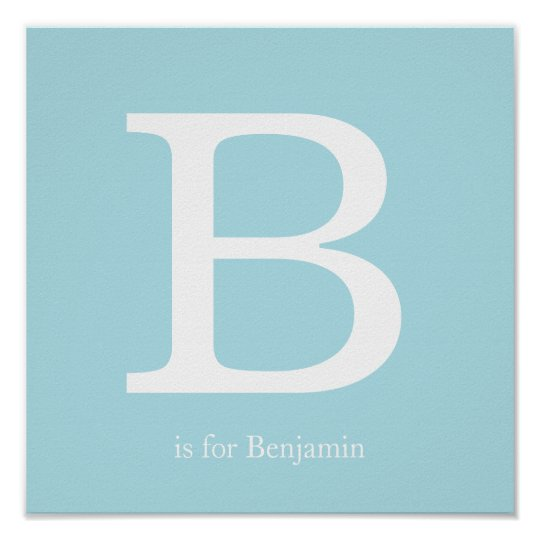 Blue Baby Nursery Monogram Poster