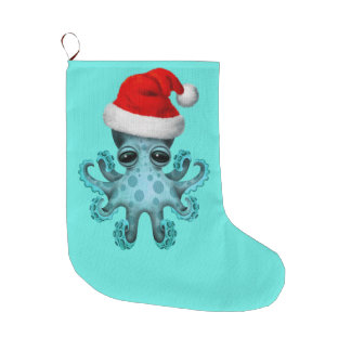 Blue Baby Octopus Wearing a Santa Hat Large Christmas Stocking