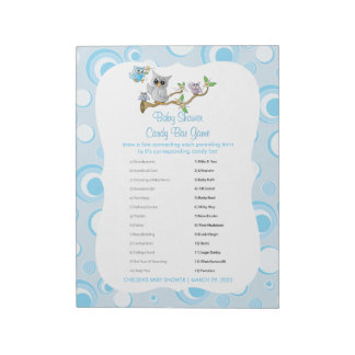 Blue Baby Owl | Baby Shower - Game Notepad