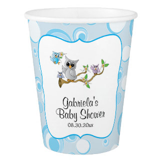 Blue Baby Owl Baby Shower Theme Paper Cup
