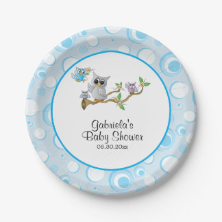 Blue Baby Owl Baby Shower Theme Paper Plate