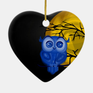 Blue baby owl on moon night background christmas ornament