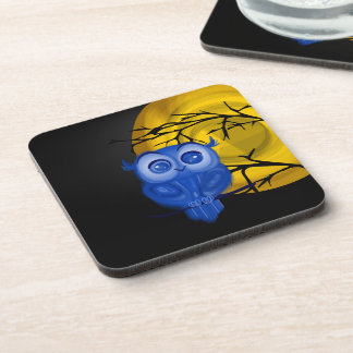 Blue baby owl on moon night background coaster