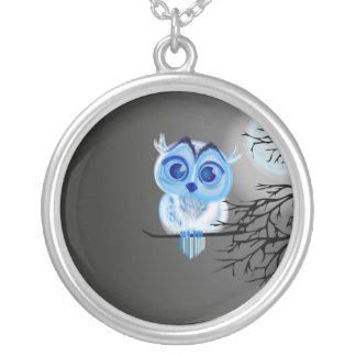 Blue baby owl on moon night background silver plated necklace