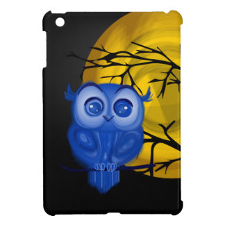Blue baby owl on yellow moon background iPad mini cases