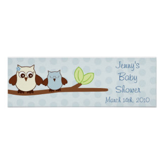 Blue Baby Owl Personalized Baby Shower Banner Posters