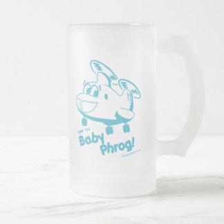 Blue Baby Phrog 16 Oz Frosted Glass Beer Mug
