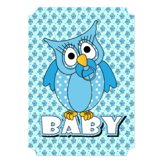 "Blue Baby Polka Dotted Owl 5"" X 7"" Invitation Card"