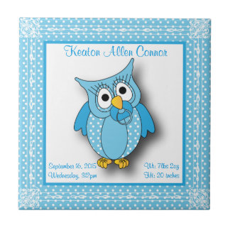 Blue Baby Polka Dotted Owl Small Square Tile