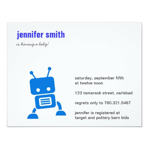 "Blue Baby Robot Baby Shower Invite 4.25"" X 5.5"" Invitation Card"