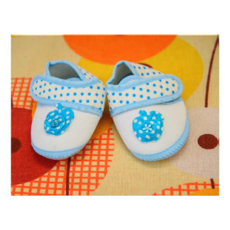 Blue baby shoes flyers