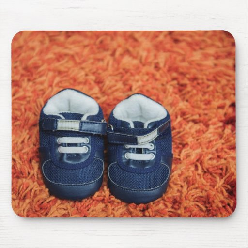 Blue baby shoes mouse pad