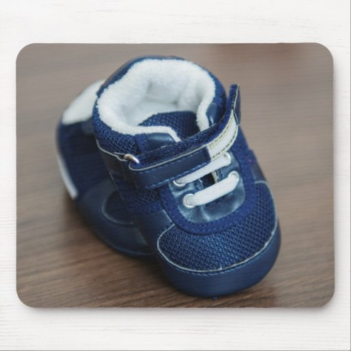 Blue baby shoes mousepads