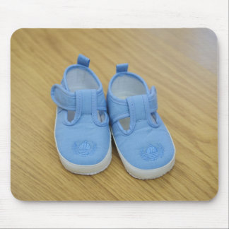 Blue baby shoes mouse pads