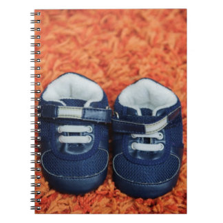 Blue baby shoes spiral note books