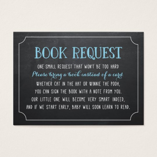 Blue Baby Shower Book Request, Bring a Book
