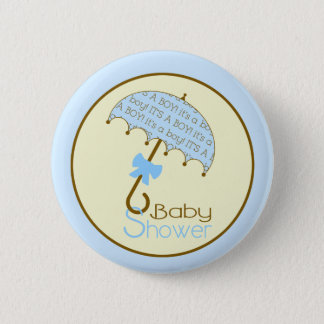 Blue Baby Shower Button - Umbrella
