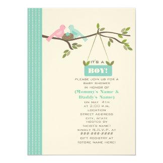 Blue Baby Shower Mommy & Daddy Birds & Nest 14 Cm X 19 Cm Invitation Card