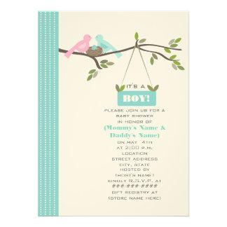 Blue Baby Shower Mommy & Daddy Birds & Nest Personalized Invite