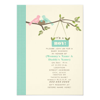 Blue Baby Shower Mommy & Daddy Birds & Nest 5.5x7.5 Paper Invitation Card