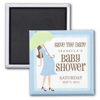 Blue Baby Shower Save The Date Square Magnet