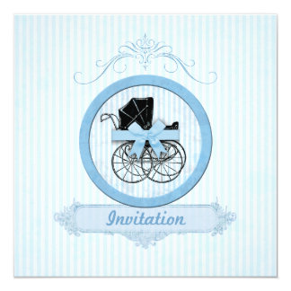 Blue Baby Shower Shabby Vintage Stripes Card