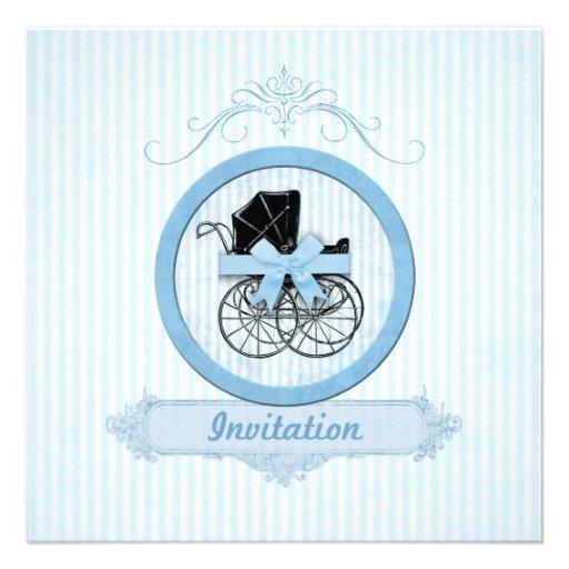 Blue Baby Shower Shabby Vintage Stripes Custom Invites