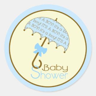 Blue Baby Shower Umbrella Sticker
