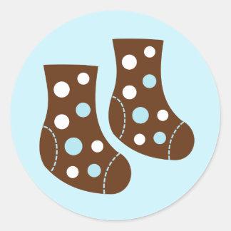 Blue Baby Socks Round Sticker