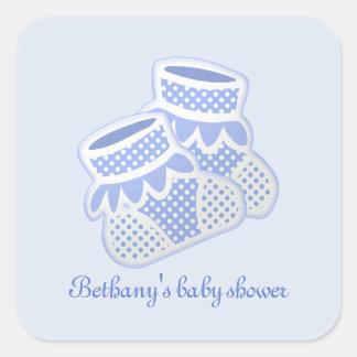 blue baby socks square sticker