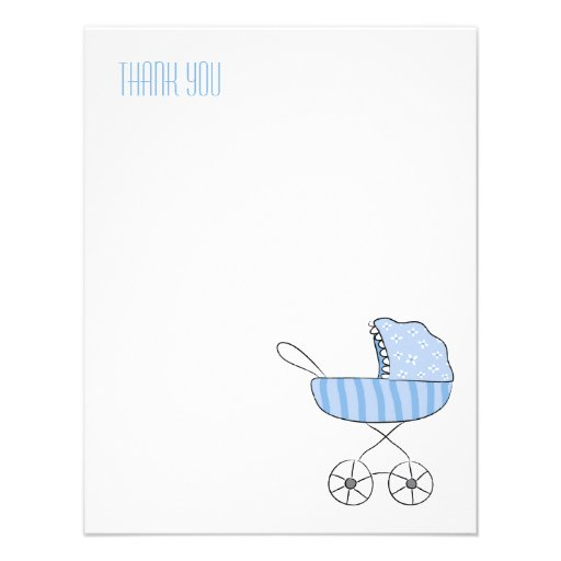 Blue Baby Stroller | Flat Thank You Note Cards Invitations