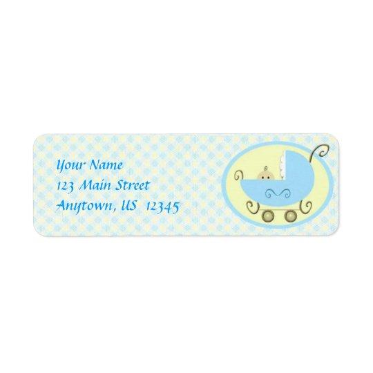 Blue Baby Stroller Label