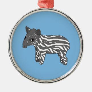 blue baby tapir Silver-Colored round decoration