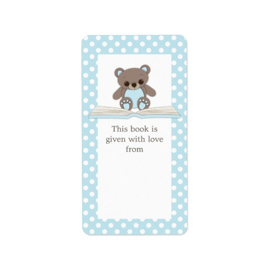 Blue Baby Teddy Bear on Book Gift Bookplate Label