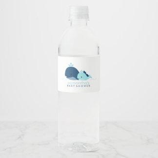 Blue Baby Whale Boy Baby Shower Water Bottle Label