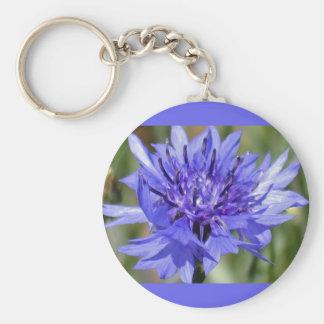 Blue Bachelor Button Flower Keychain