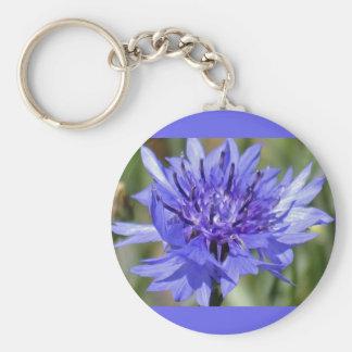 Blue Bachelor Button Flower Key Chain
