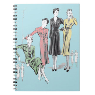 Blue background 80 page vintage fashion print notebooks