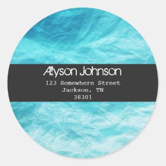 Blue Background Address Labels Round Sticker