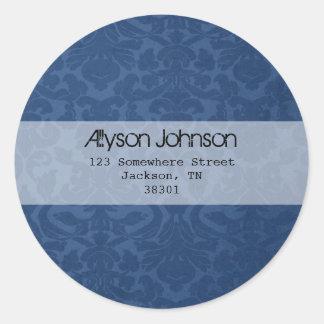 Blue Background Address Labels Round Stickers